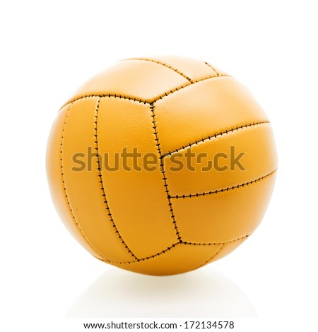 Old soccer ball isolated on white background. - stock photo