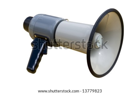 Old socialist megaphone over a white background - stock photo