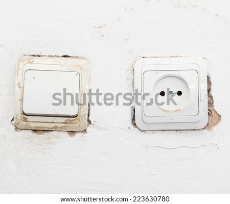 old socket electricity - stock photo