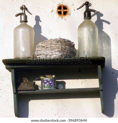 Old soda Bottles, watener on the table - stock photo