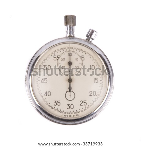 Old soviet stopwatch isolated on white