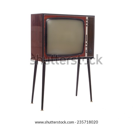 Old Soviet TV isolated on white