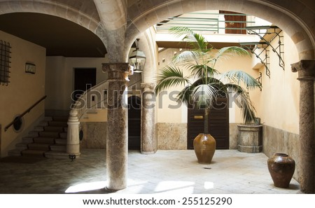 Old spanish building interior - stock photo