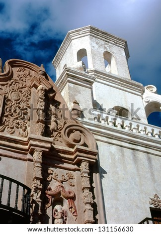 Old Spanish mission san Xavier del Bac built in 1692 - stock photo