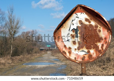 old speed sign - stock photo