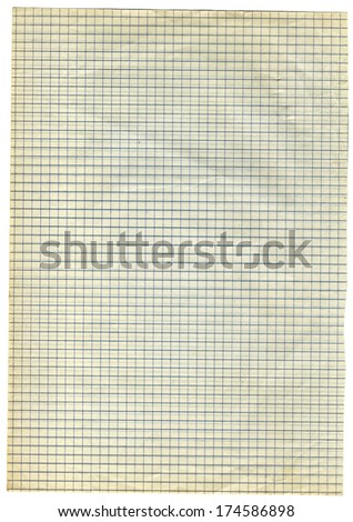 old square lined paper - isolated - stock photo
