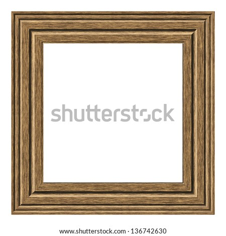 Old square wooden frame isolated on white background