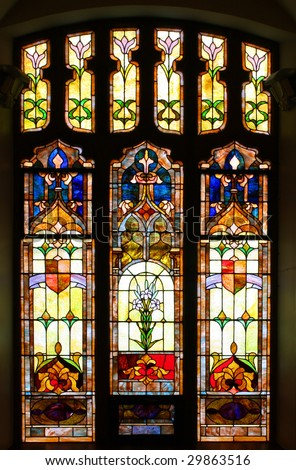 Old stained glass window in church