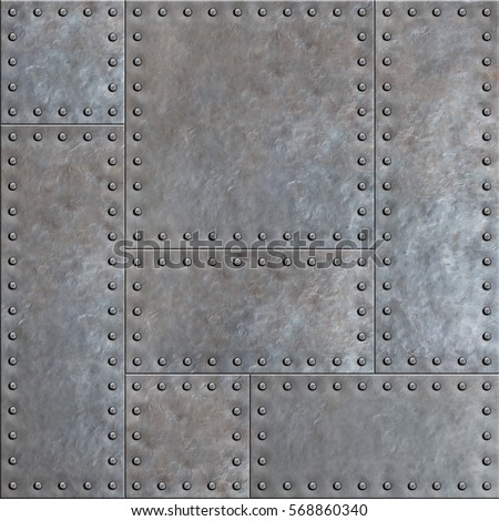 Old Stained Metal Plates With Rivets Seamless Background Or Texture