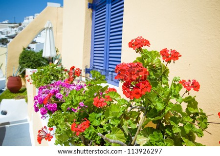 Old staircase and flowers at Santorini island,Greece