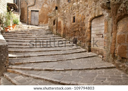 old stairs in Pitigliano, south Tuscany