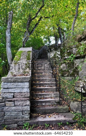 Old stairs made of granite