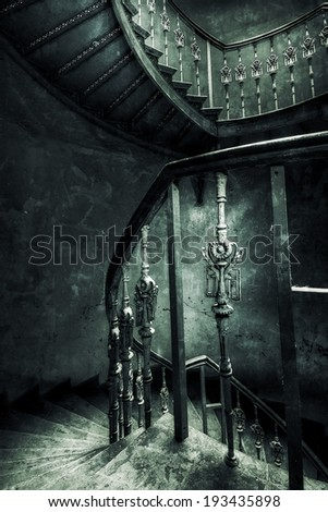 Old stairs retro style - stock photo
