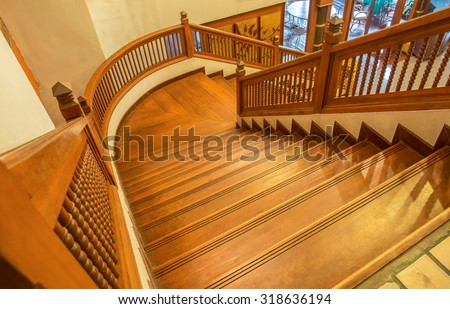 Old stairs wooden  - stock photo