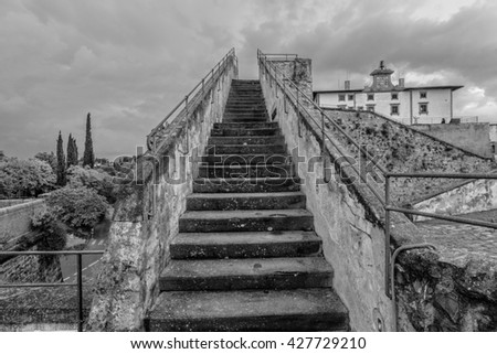old stairway. Image in black and white