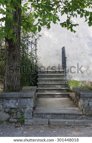 Old stairway in castle - stock photo