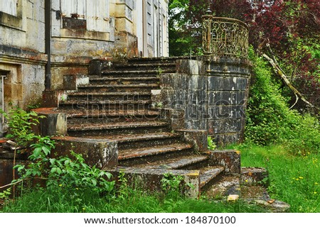 Old stairway of a palace , BORDEAUX region, FRANCE  - stock photo