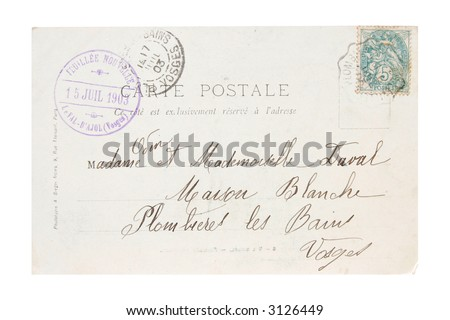 Old Stamp and Postcard from 1903 - stock photo