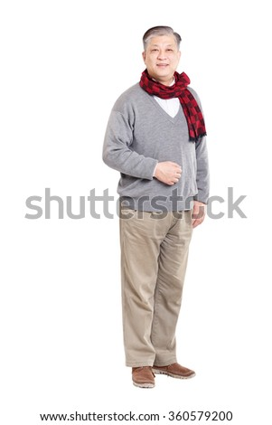 old standing Asian man in grey jumper and scarf  - stock photo