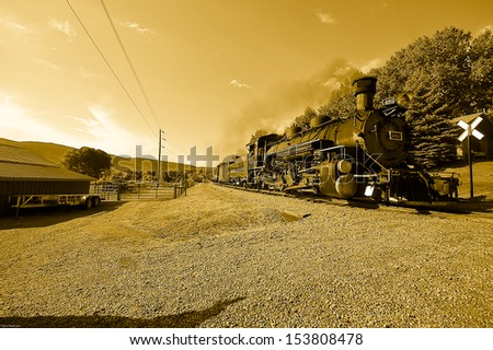 old steam engine in Durango colorado, USA - stock photo