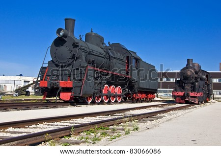 Old steam locomotive at the depot. Museum of Technology in Togliatti. - stock photo