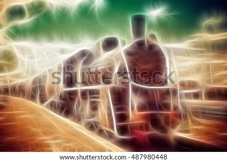 Old steam locomotive illustration, vintage train.