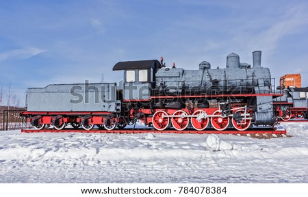 Old steam locomotive Nizhniy Novgorod, Russia. Steam locomotives of type E were produced at the Nevsky Shipbuilding Plant of St. Petersburg