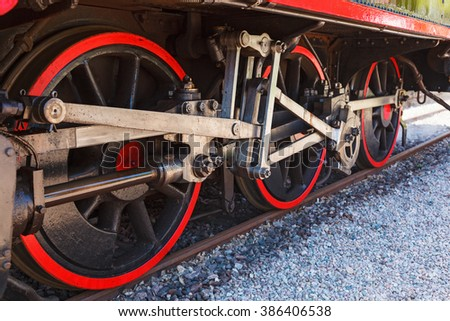 Old steam locomotive wheels on the rails
