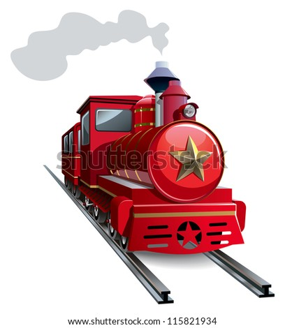 Old steam locomotive with golden star, hi-res raster from vector illustration - stock photo