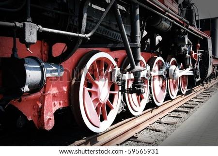Old steam train - stock photo