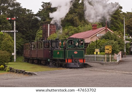 OLd steam train in Shanty Town Museum - stock photo