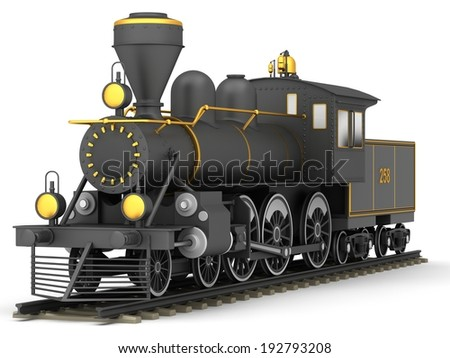 Old steam train on a white background