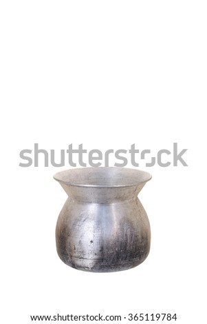 Old steaming pot isolated on white background. - stock photo