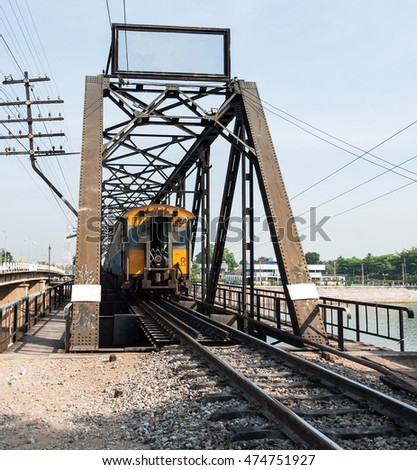 Old steel bridge for the southern line of the train system in Thailand.