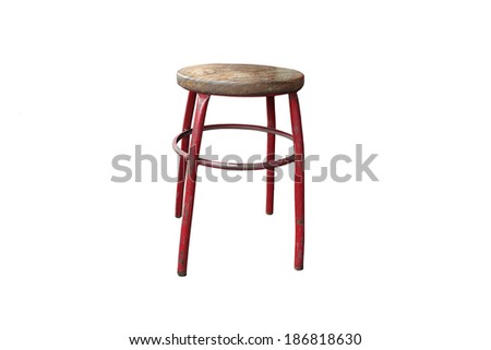 Old steel chair on a white background, isolate
