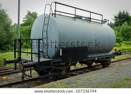 Old steel german tank or freight train car - stock photo