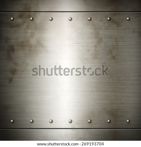 Old steel riveted brushed plate background texture. Metal frame background