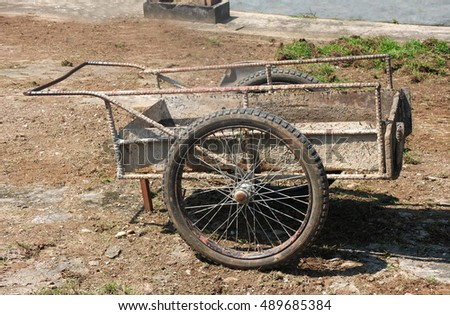 Old steel trolley (cart) for construction at ground