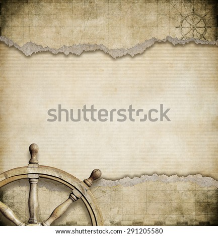 old steering wheel and torn nautical map background - stock photo
