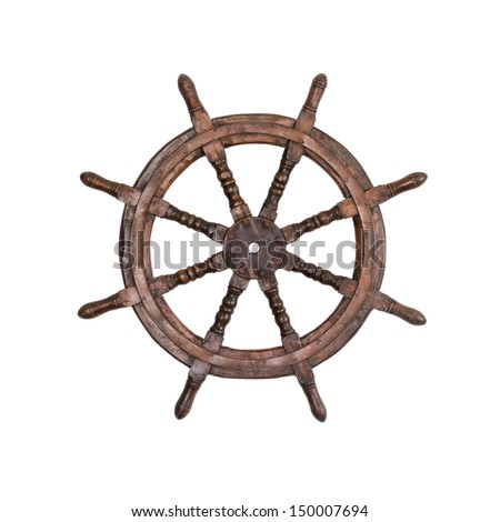 Old steering wheel isolated  - stock photo