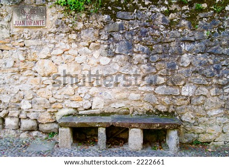Old Stone Bench in Spain - stock photo