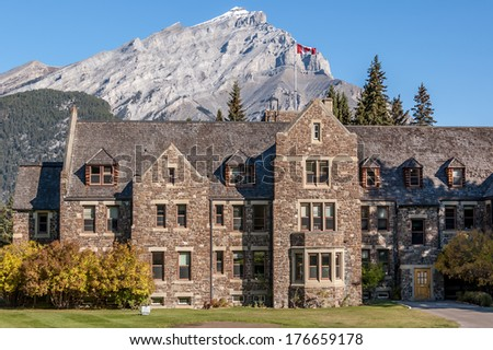 Old stone building in the Town of Banff, Banff National Park, Alberta, Canada - stock photo