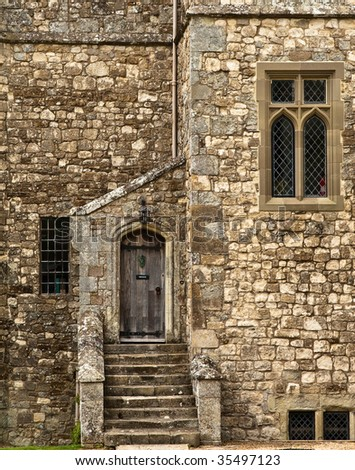 Old stone castle facade located in Isle of Wight, UK