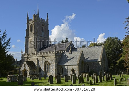 Old stone church at Avebury in Wiltshire, England - stock photo