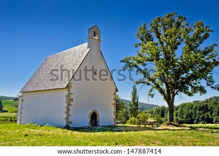 Old stone church on Kalnik mountain, Prigorje region, Croatia - stock photo