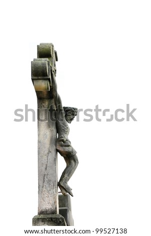 old stone cross in ancient christian cemetery - stock photo