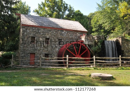 Old stone grist mill in Sudbury, MA - stock photo