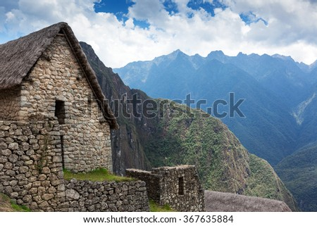 old stone house in Machu Picchu - stock photo
