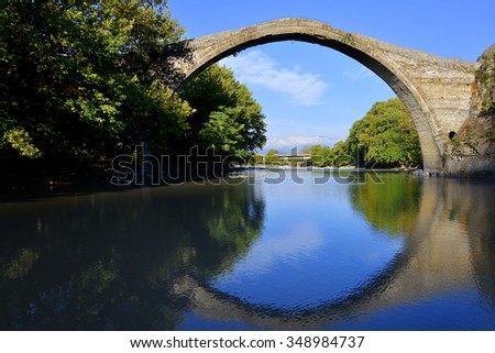 Old stone Konitsa bridge over Aoos river in Greece
