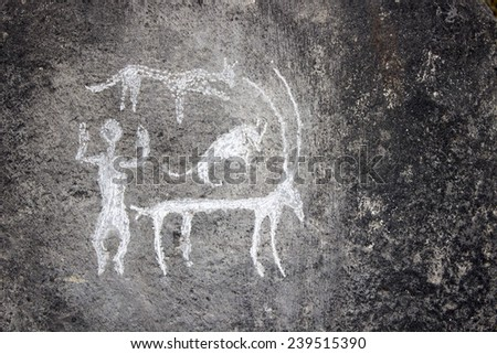 old stone painting - stock photo